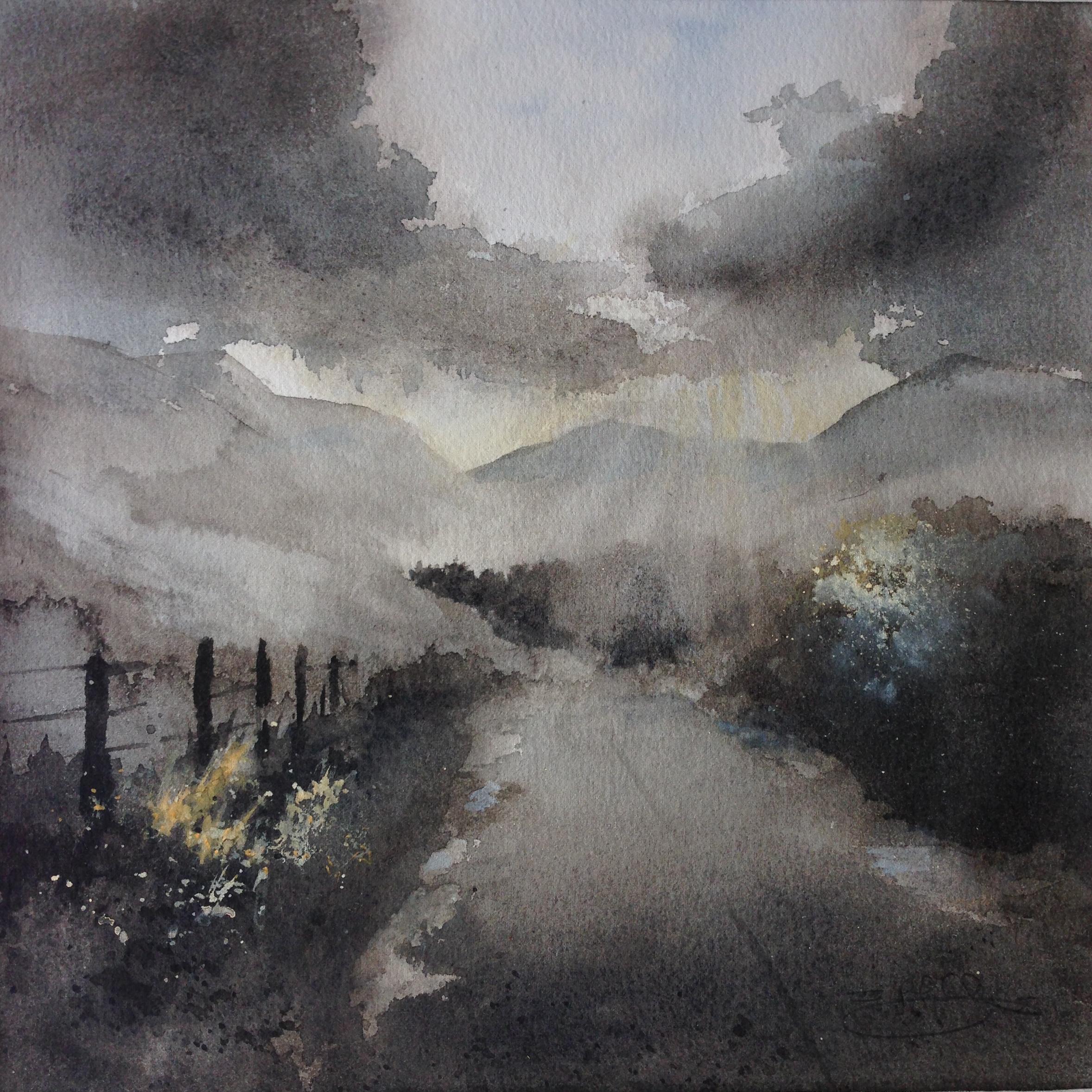 Sunburst, Perthshire hills. Sheena F Phillips