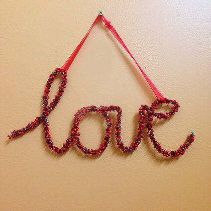 Beaded Love Wall Hanging