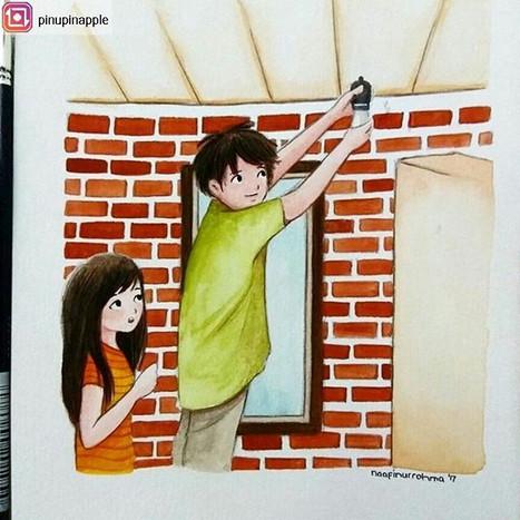 Be careful, dear!__#watercolorpainting #
