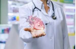 Doctor holding heart.