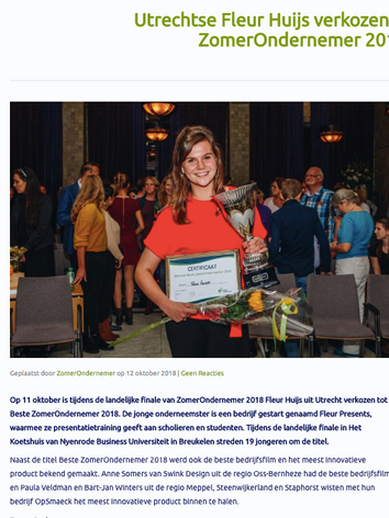 Utrechtse Fleur Huijs beste ZomerOndernemer 2018
