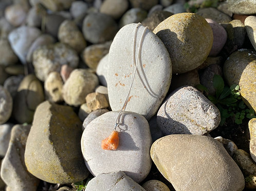 Orangen Calcit 3cm & 925er Silber Kette