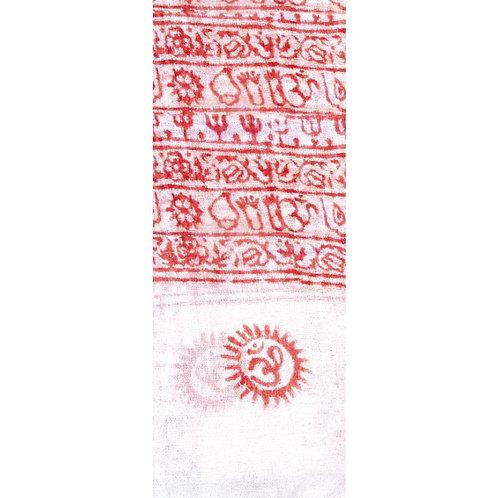 Gebetsschal OM weiß/rot 90x180cm