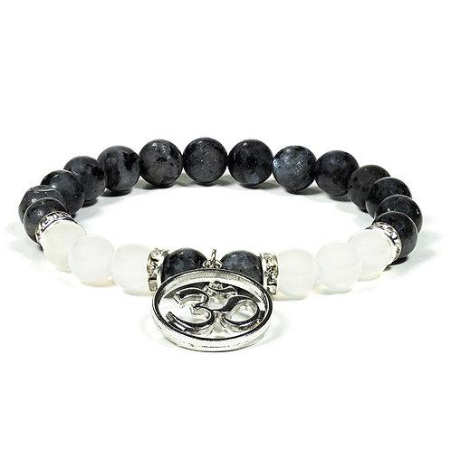 Armband Labradorit & weißer Achat mit OHM Zeichen