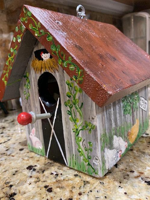 Grey barn birdhouse