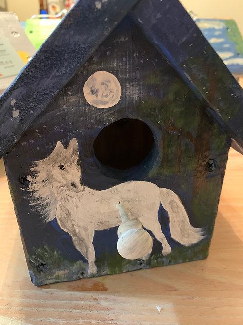 White horse birdhouse