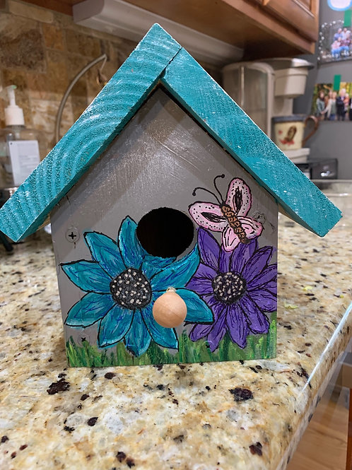 Blue & Purple flower birdhouse
