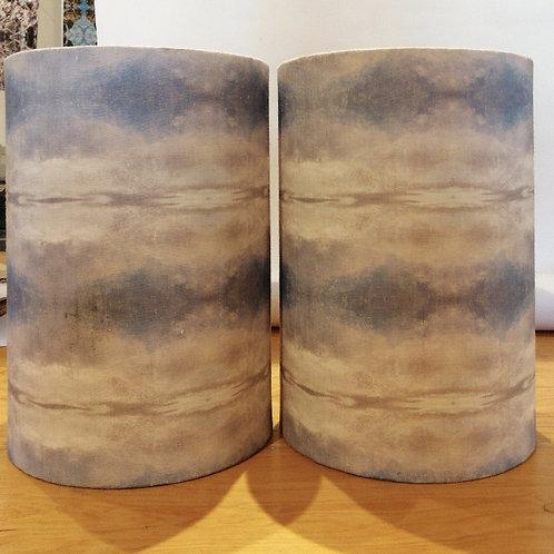 Pair - Blue Sky Drum Lampshades