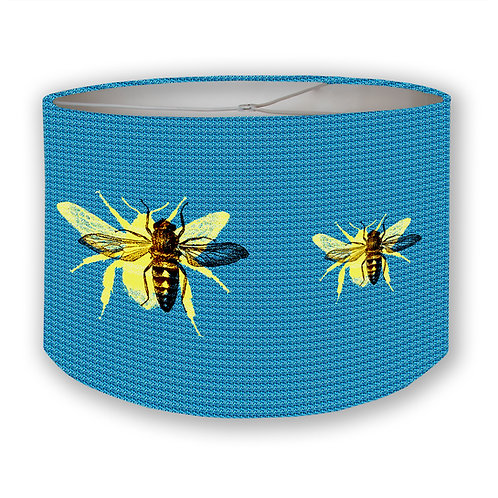 Blue Bees Drum Lampshade