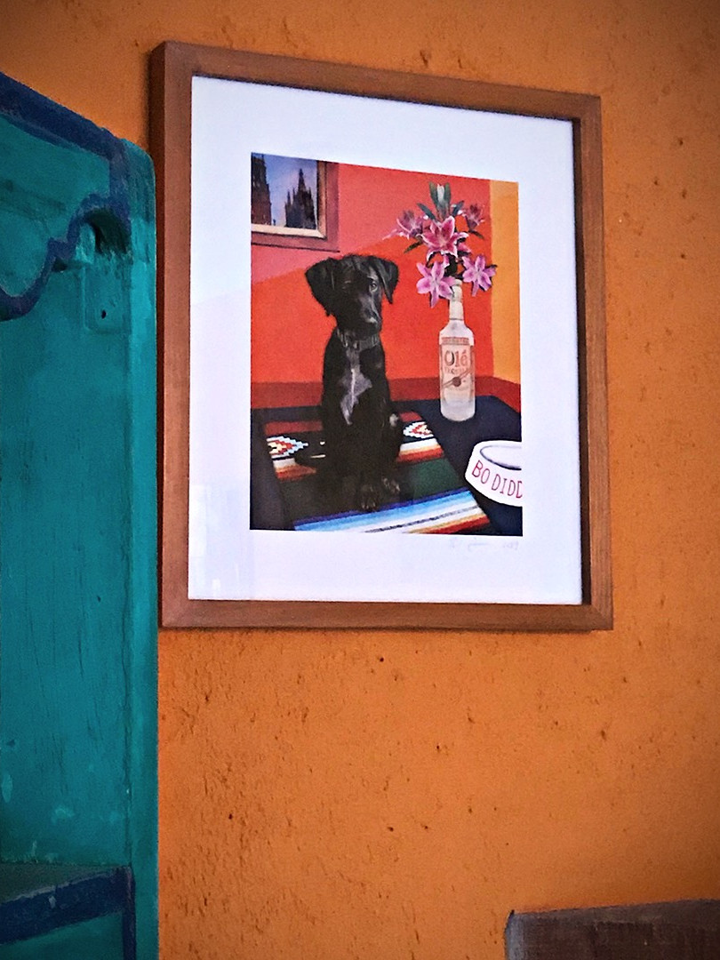 Bo Diddley's art hangs in his parents' home.
