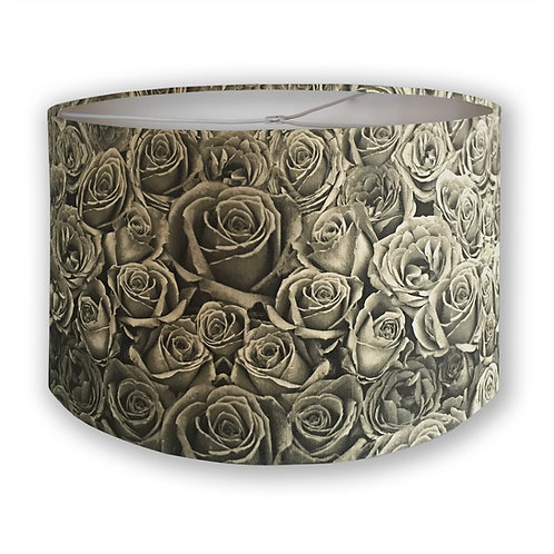 Sepia Roses Drum Lampshade
