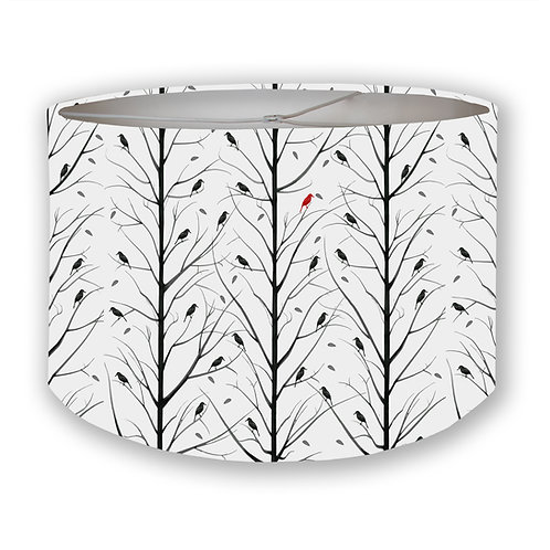 Red Bird Forest Drum Lampshade