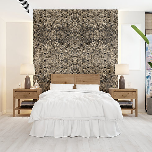 Sepia Roses Wall Covering