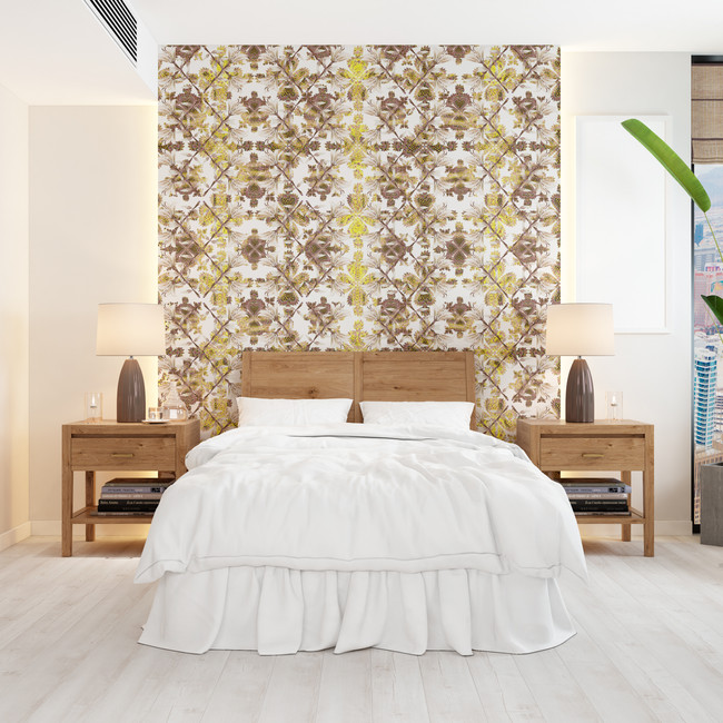 2 panels of Wallpaper installed in room
