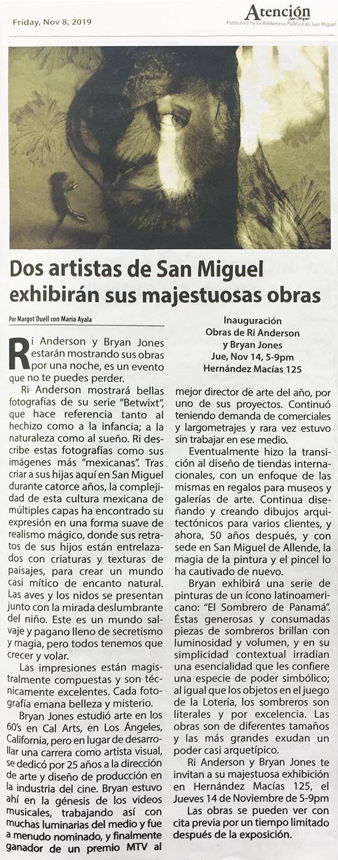 """""""Dos artistas de San Miguel exhibirán sus majestuosas obras,"""" Margot Duell con Maria Ayala"""