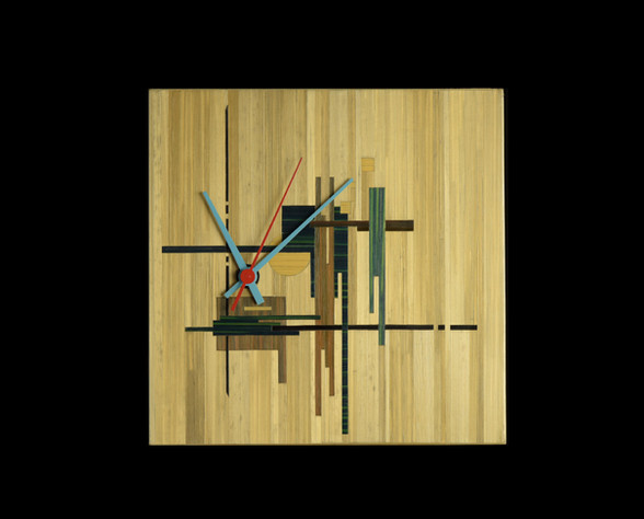 Pendule marquetée de paille 19x19cm