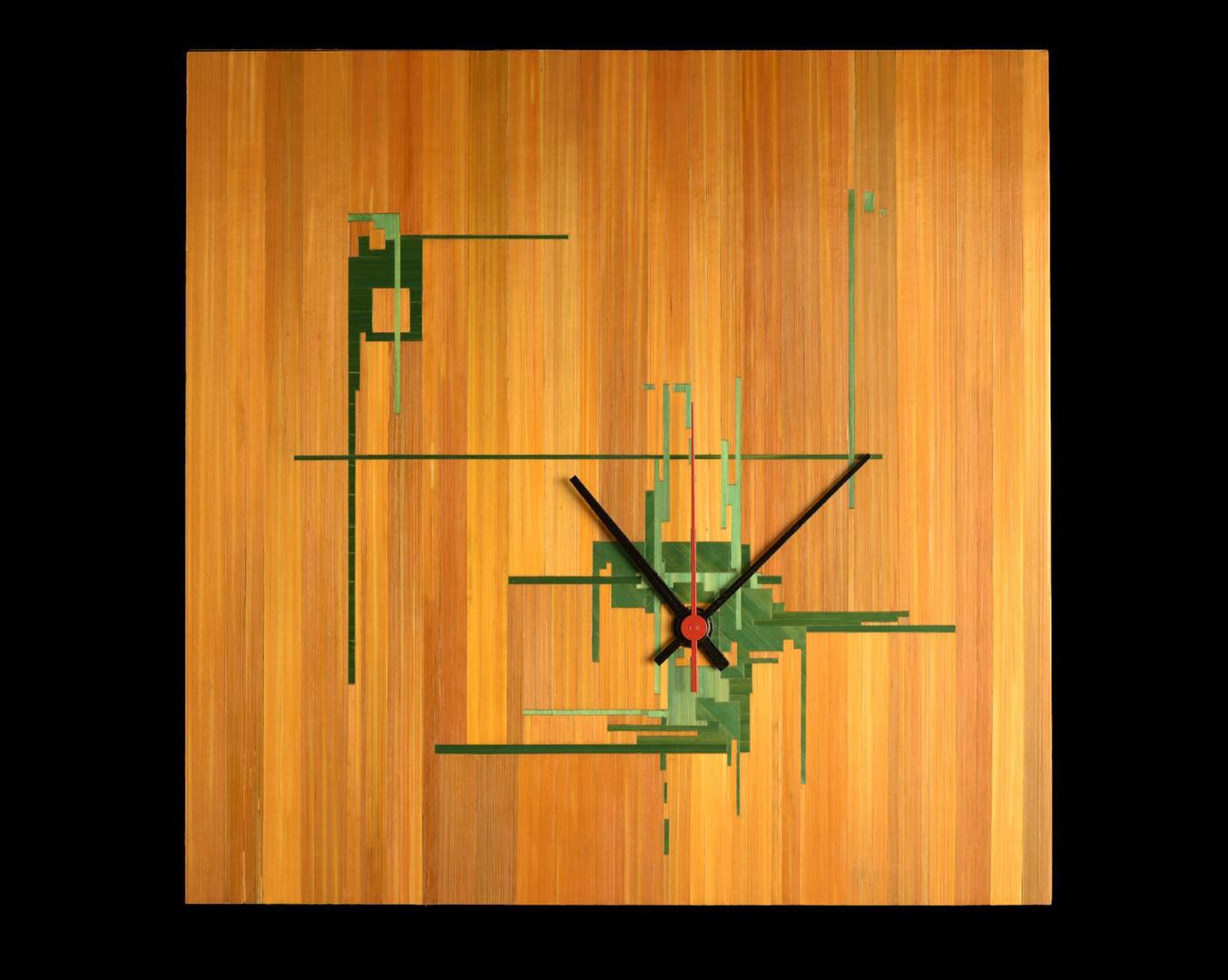 Pendule marquetée de paille 27x27cm