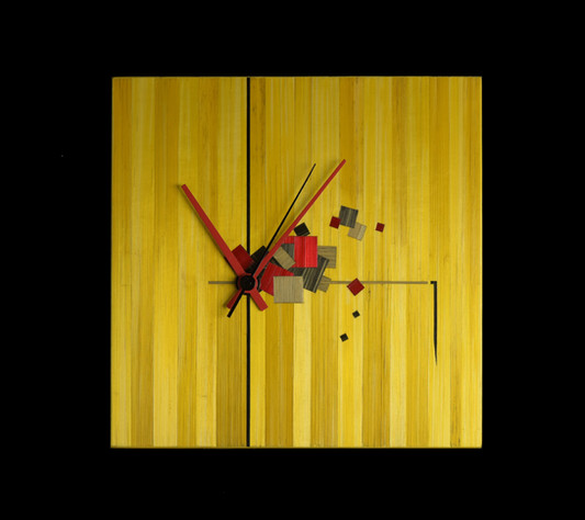 Pendule marquetée de paille 19 x19cm