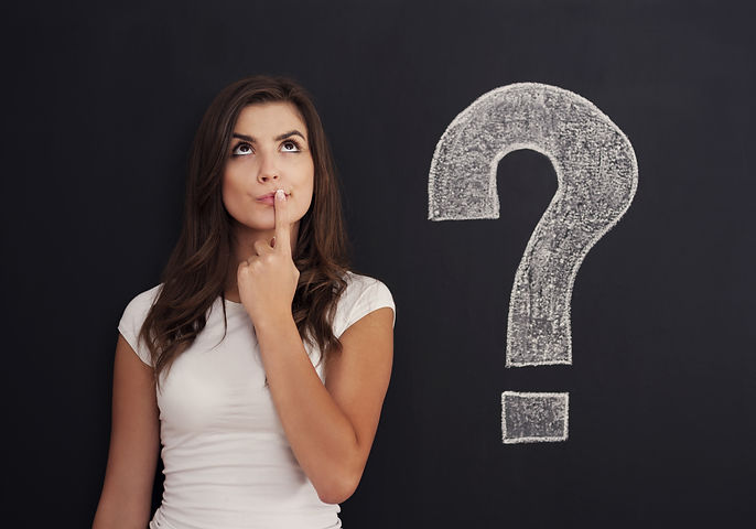 Woman with question mark on blackboard.j