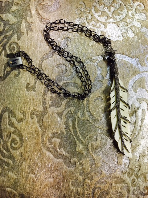 Long Oxidized Sterling Chain with Hand-Carved Bone Pave Feather & Pave Clasp