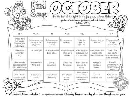 Kind Soup Color-filled Calendar