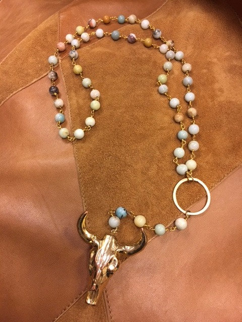 Amazonite Rosary With Steer