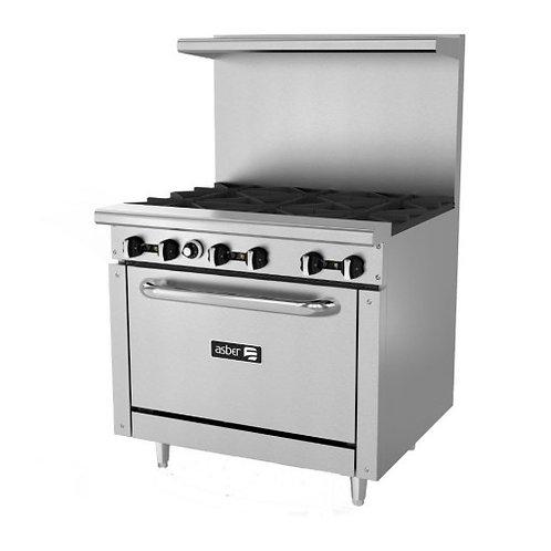 "Asber 36"" 6 burner range with oven AER-6-36"