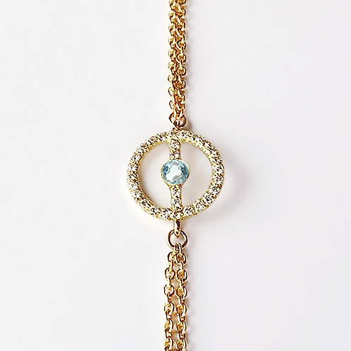 ALICE & MOIS - Bracelet Félicité Diamants - Aigue Marine