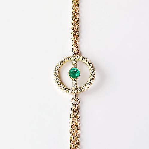 ALICE & MOIS - Bracelet Félicité Diamants - Émeraude