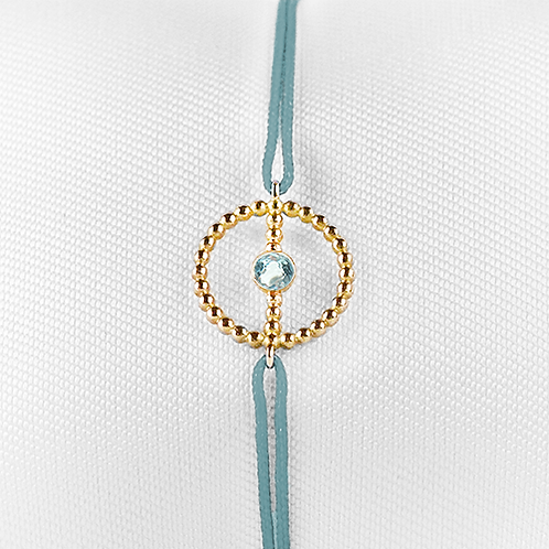 ALICE & MOIS - Bracelet Félicité Or perlé - Aigue marine