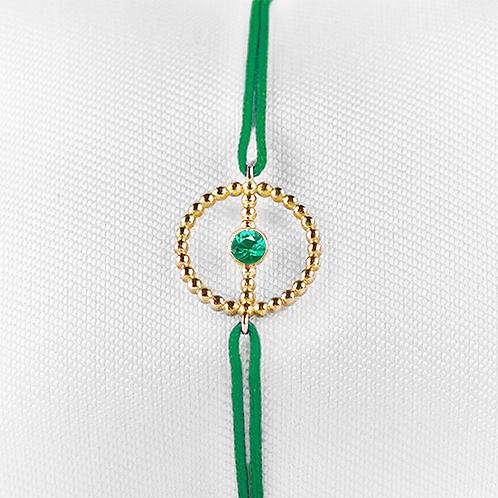 ALICE & MOIS - Bracelet Félicité Or perlé - Émeraude