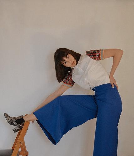 pantalon large bleu roi