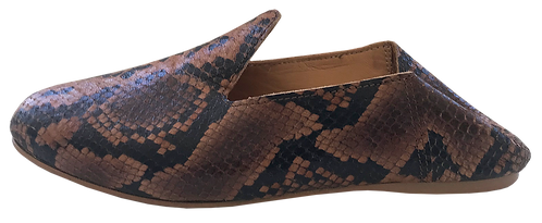 babouches cuir python camel