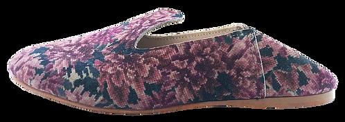 babouches cuir fleur toile violet