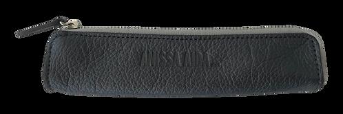 porte-stylo gris métallisé en cuir