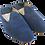 Thumbnail: babouches cuir bleu pois blanc