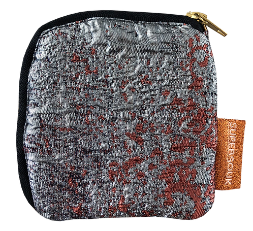 porte-monnaie brocard gris rouge