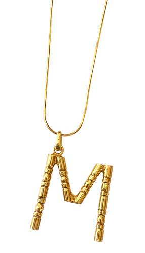 Collier lettre bambou M