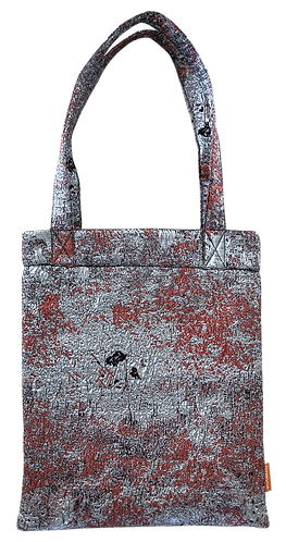 totebag brocard argenté rouge