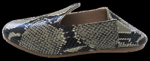 babouches cuir python gris