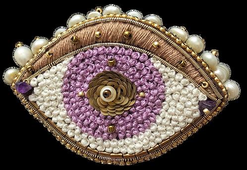 broche oeil perles