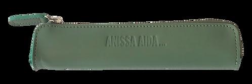 porte-stylo vert amande en cuir