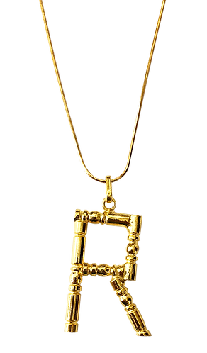Collier lettre bambou R