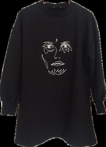 robe sweat noir visage