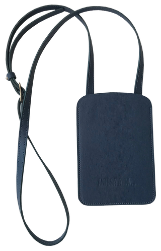 porte-téléphone bleu marine cuir