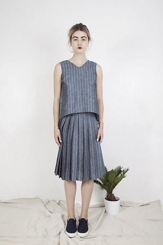 jupe plissée lin SOPHIA