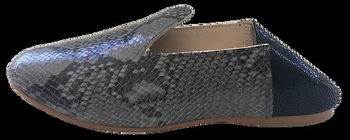 babouches cuir python gris et talon noir