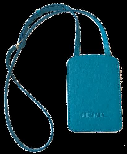 porte-téléphone turquoise cuir