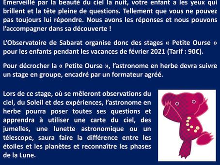 STAGES D'ASTRONOMIE POUR ENFANTS EN 2021
