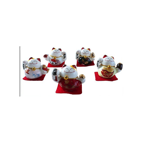Lot de 5 Chats Maneki Neko en porcelaine